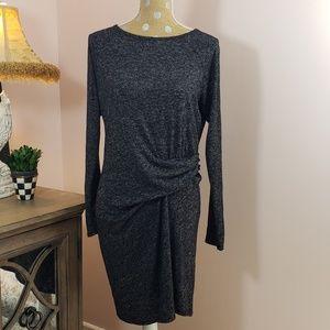 Athleta grey knit side rouched waist dress medium